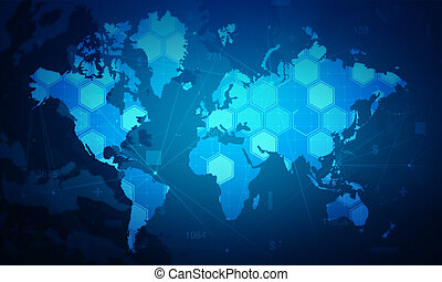 cyber, digitale wereld, zeshoek, bezielen, kaartachtergrond