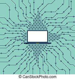 Cyber Dollar Mining - Vector illustration of a laptop ...