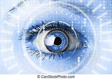 cyber, donna, con, matrice, occhio, concetto
