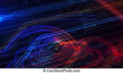 cyber, entrée, symbole, cyberespace, nuage, animation,...