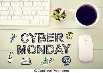 cyber, estación de trabajo, mensaje, lunes