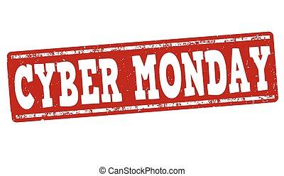 cyber, estampilla, grunge, lunes