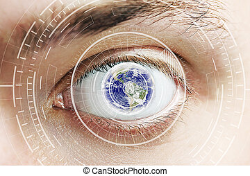 Cyber eye - Close up of eye with digital patter and globe....