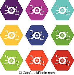 Cyber eye symbol icon set color hexahedron