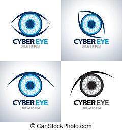Cyber eye symbol icon set