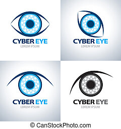 Cyber eye symbol icon set