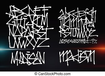 Cyber font. Letters and Numbers futuristic graffiti vector font