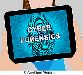 Cyber Forensics Computer Crime Analysis 2d Illustration...