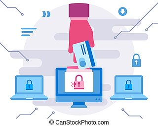 Internet computer security cyber attack hand stealing credit card