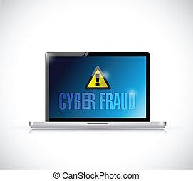 cyber fraud laptop sign illustration design