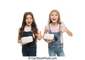 Cyber gaming. Augmented reality technology. Virtual reality is exciting. Girls little kids wear vr glasses white background. Virtual education concept. Modern life. Interaction in virtual space
