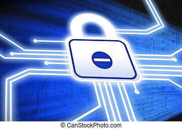 cyber, garanti, begreb, hos, mainboard, strømkreds, og, hængelås, på, blå baggrund