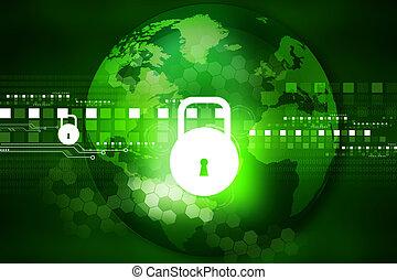 cyber, garanti, begreb, strømkreds planke, hos, aflukket, hængelås