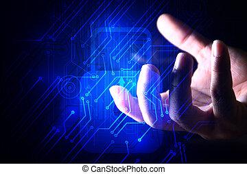 cyber, garanti, netværk, begreb