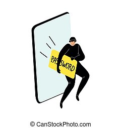 Cyber hackers stealing a user's password from a smartphone wallet. Hacking the internet social network concept. Isolated vector icon illustration on white background in cartoon style.