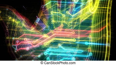Cyber hand futuristic animation