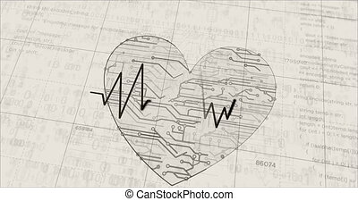 Cyber heart futuristic sketch