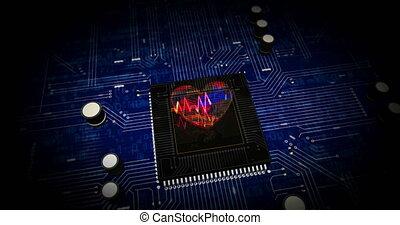 Cyber heart pulse futuristic animation
