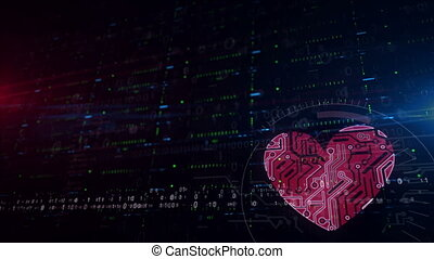 Cyber heart symbol lower thirds background - Cyber heart...