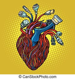 Cyber heart. Wires and cables. Pop art retro vector...