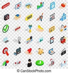 Cyber icons set, isometric style