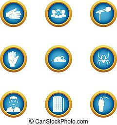 Cyber interface icons set, flat style - Cyber interface...