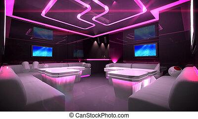 cyber, interior, habitación, rosa