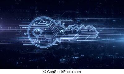 Cyber key symbol hologram - Cyber safety with key symbol...