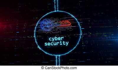 Cyber key symbol hologram in electric circle - Cyber safety ...
