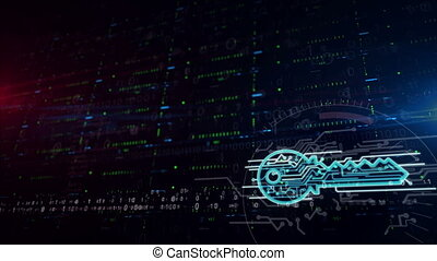 Cyber key symbol lower thirds background - Cyber safety with...