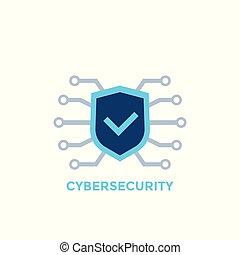cyber, logotipo, seguridad, vector