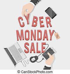 cyber, lundi, illustration, vente
