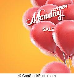 cyber, lunedì, vendita, etichetta