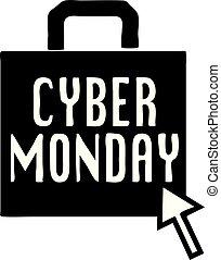 cyber, lunes, icono