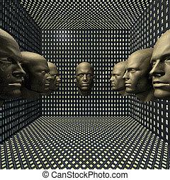 cyber, maenner, roboter, kopf, in, zimmer