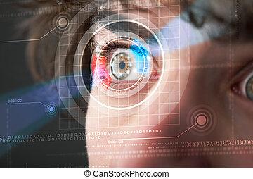 cyber, man, met, technolgy, oog, het kijken