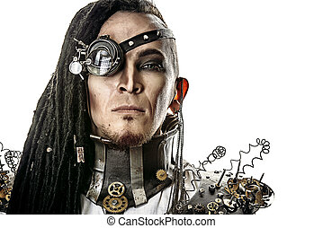 cyber man - Portrait of a steampunk man. Isolated over white...