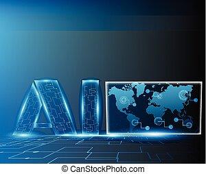 cyber, mapa, eps10, negócio, ai, inteligência, digital, sistema, ilustração, concept.vector, artificial, letra, grande, mundo, linha, dados