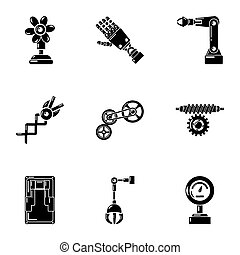 Cyber mechanician icons set, simple style