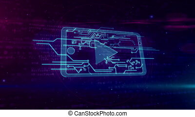 Cyber media concept with mobile player looping animation