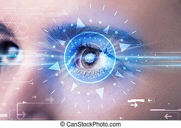 cyber, meisje, met, technolgy, oog, het onderzoeken, blauwe...