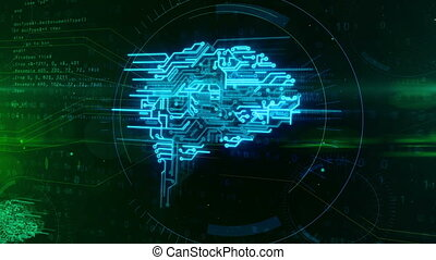Cyber mind concept animation - Artificial intelligence,...