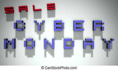 Cyber Monday 3D Text Looping Animation - Shadows On A White...