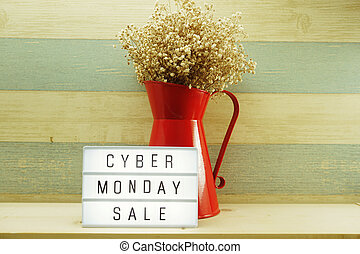 cyber monday alphabet letter on wooden background