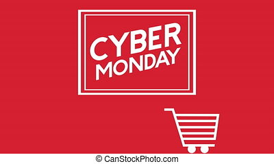 cyber monday animation with shopping cart ,4k video
