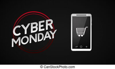 cyber monday animation with smartphone