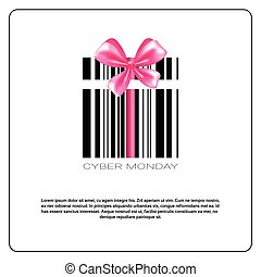 Cyber Monday Background With Bar Code And Pink Bow Sale Banner Design With Copy Space