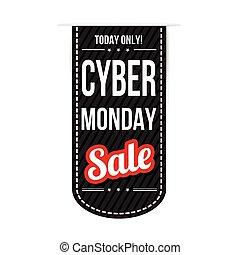 Cyber Monday banner design over a white background, vector illustration