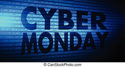 cyber monday banner with binary code design 2011
