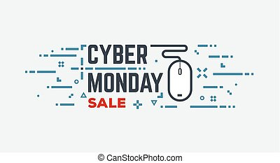 Cyber monday banner with wired mouse and abstract lines and...